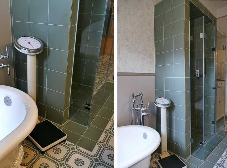 Zwei Bilder Badewanne bei Badumbau