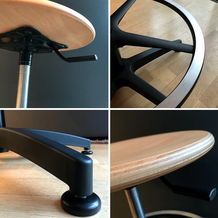 Details des drehabren Stuhls