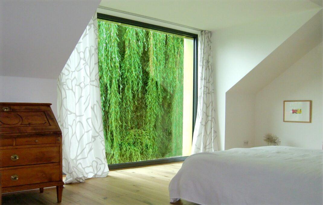 Schlafzimmer Gestaltung Vorhänge Fenster